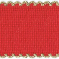 2in / 5cm Christmas Red / Gold Edged Aida Band - 1m